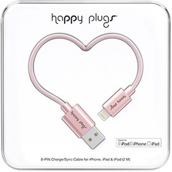 Apple Happy Plugs Deluxe EDT 8-Pin Charge/Sync Cable For iphone /ipad/ipod 2m Rose Gold image
