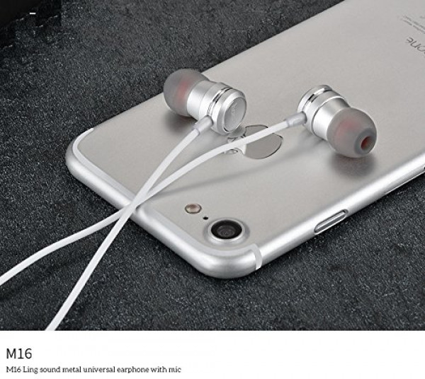 Hoco M16 Ling sound metal universal earphone with mic Silver image