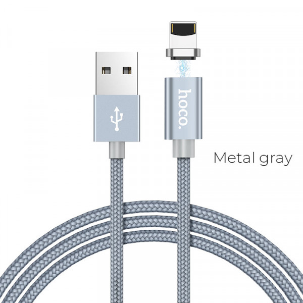 Hoco U40A magnetic adsorption lightning charging cable Metal Grey image