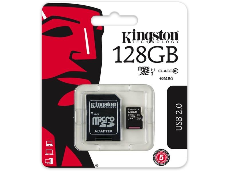 KINGSTON 128GB MICROSDXC GEHEUGENKAART CLASS 10 +SD ADAPTER image