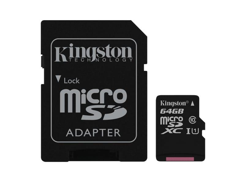 KINGSTON 64GB MICROSDXC GEHEUGENKAART CLASS 10 + SD ADAPTER image