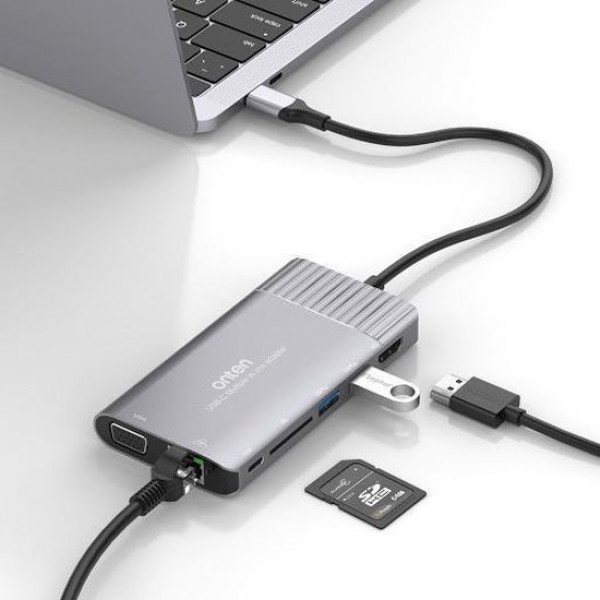 Sounix 8 in 1 USB C to HDMI 4K@30hz+VGA+2*USB 3.0 hub+pd charger+Type C HUB Adapter+,PD2.0 image