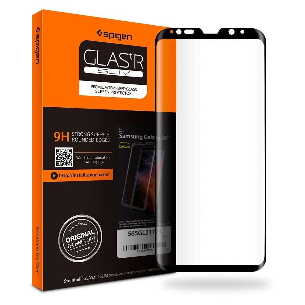 Spigen Full Curved Tempered Glass voor Samsung Galaxy S8 Black image